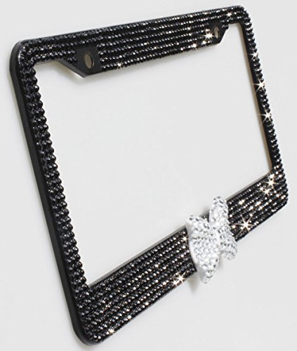 TASIRO 7 Row Pure Handmade Waterproof Bling Bling Rhinestones Aluminium License Plate Frame With Bow 2 Holes Bonus Matching Screws & Caps (Black/white bowtie) (Plate Bow License)