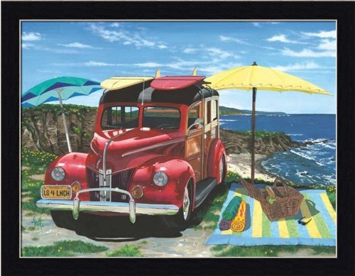 Woody Surf Wagon (Palisades Picnic by Scott Westmoreland Woody Station Wagon Surfboards Framed Art Print Picture)