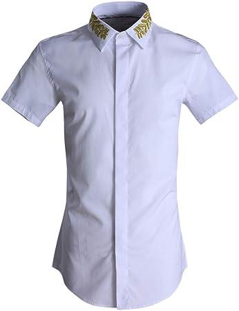 Camisa de vestir slim fit para hombre Camisa de manga corta de verano para hombre Bordado