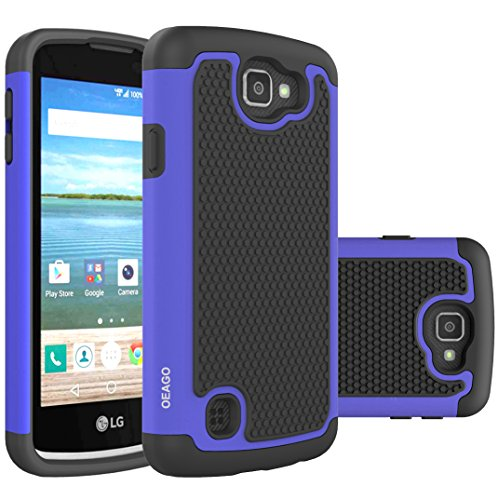 Oeago Shock-Absorption Dual Layer Defender Protective Case for LG Optimus Zone 3 / LG K4 LTE / LG Spree / LG Rebel LTE - Silicone Blue