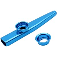 TOOGOO(R) Kazoo Aleacion de Aluminio de Metal con 5pcs Regalos de Flauta Diafragma para Ninos Amantes de la Musica-azul