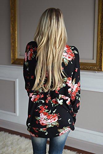 Casual Blusa Lungo Casuale Manica Cardigan Nero Cappotto Top Irregolare Stile Battercake Donne Stampato Elegante Fashion Lunga Camicetta Autunno Donna Vintage Etnico Floreale Comode Giacche wZTTpqUC