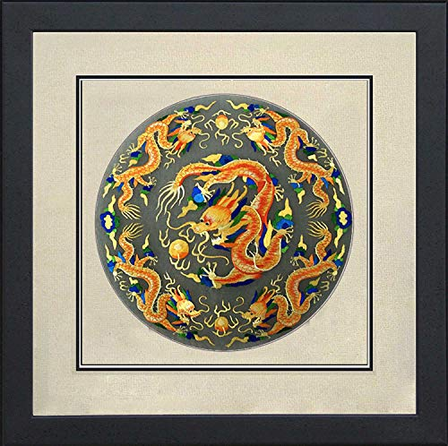(100% Handmade Embroidery FrameKing Silk Art 100% Handmade Embroidery Framed Five Golden Dragon Oriental Wall Hanging Art Asian Decoration Tapestry Artwork Picture Gifts)