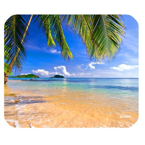 iFUOFF Non-Slip Rubber Shore Palms Tropical Beach Design Natural Rectangular Mousepad ()