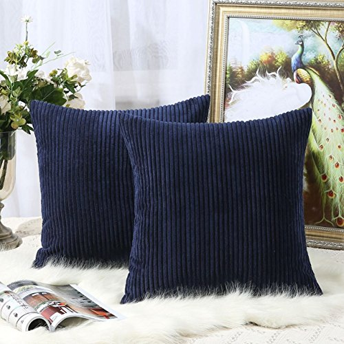 Miaote Pack of 2 Decorative Throw Pillow Covers Cases for Couch Bed Sofa,Striped Corduroy Velvet Cushion Covers for Baby, 20 X 20 Inches,Navy Blue