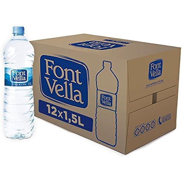 Font Vella - Agua Mineral Natural fácil de apilar- Caja 12 x 1,5 L: Amazon.es: Alimentación y bebidas