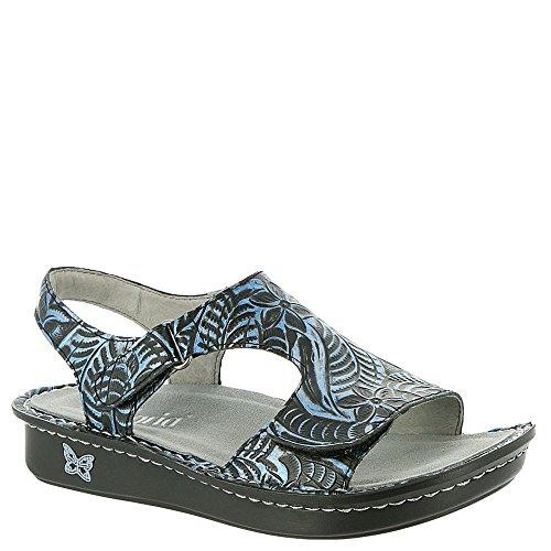 (Alegria New Women's Viki Velcro Sandal Architexture Blue)