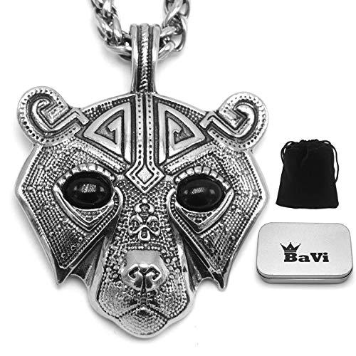 BaviPower Berserker Bear Head Pendant Necklace ♦ Stainless Steel ♦ Nordic Scandinavian Necklace ♦ Authentic Viking Jewelry (27.6)