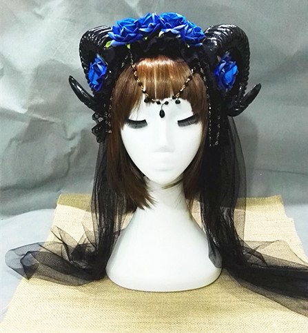 Qhome Blue Rose Gauze Sheep Horn Hoop Headband Forest Animal Photography Original Manual Aries Exhibition Cosplay Photo Props Deluxe Costume Horns (6 Roses+Crystal+100Gauze)]()