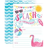 Girl Pool Party Birthday Invitations, Summer Pool Party Bash, Splash Pad, Water Park Invites, 20 Fill In Pool Party Invitations With Envelopes