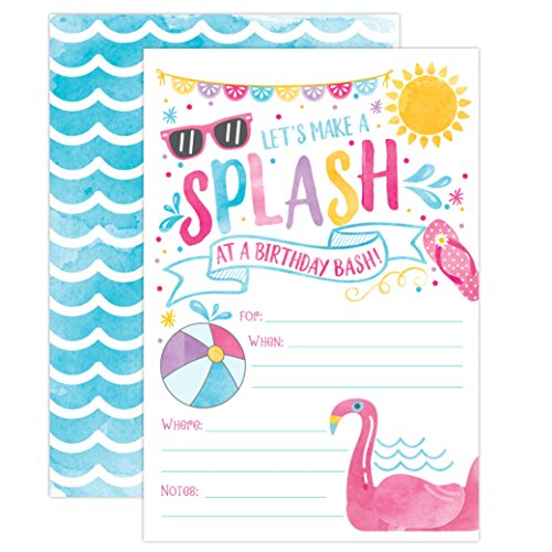 Girl Pool Party Birthday Invitations, Summer Pool Party Bash, Splash Pad, Water Park Invites, 20 Fill In Pool Party Invitations With Envelopes ()