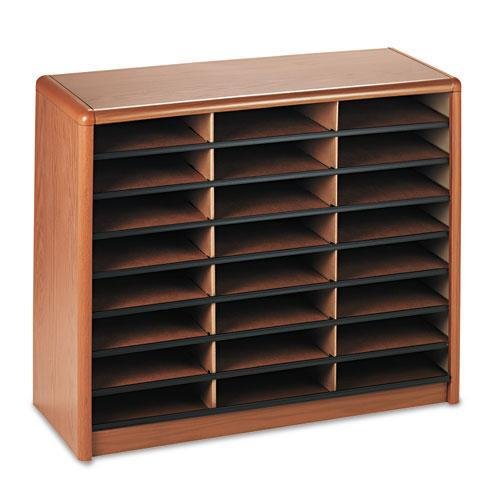 Safco Office Value Sorter Literature Organizer, 24 Compartment - Medium Oak (Medium Oak Literature Organizer)