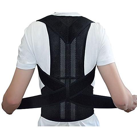 Men's Back Posture Corrector Back Braces Belts Lumbar Support Belt Strap Posture Corset for Men Health Care Shoulder Band Belt Size XXL: Waist 43 - 49 - Chrome Hard Rocker