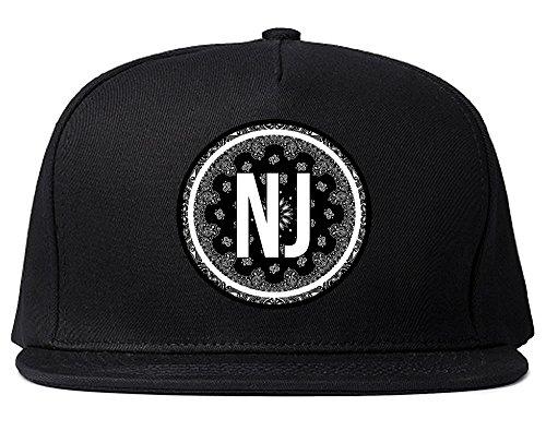 - Kings Of NY NJ New Jersey State Bandana Snapback Hat Black