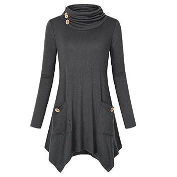 Mujer blusa tops Manga larga verano y Otoño moda urbano,Sonnena Las mujeres sólida camisa