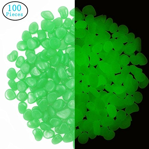 LOVEHOME 100 PCS Artificial Glow in the Dark Garden Pebbles for Walkways and Decor DIY Decorative (#4)