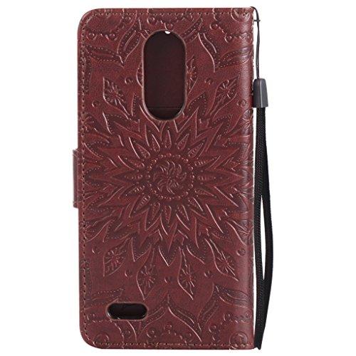 Trumpshop Smartphone Carcasa Funda Protección para LG K8 (2017) [Gris] 3D Mandala PU Cuero Caja Protector Billetera Choque Absorción Marrón