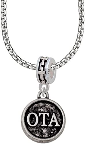 OTA Angels Wear Scrubs Engraved Necklace Delight Jewelry Occupational Therapist Caduceus Seal