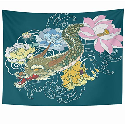 Ahawoso Tapestry 80x60 Inches Dragon Tattoo Lotus Chrysanthemum Peony Cherry Flower Wall Hanging Home Decor Tapestries for Living Room Bedroom Dorm -