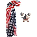 Bundle - 3 Items: American Flag Scarf, Star Pin and Star Earrings - Red