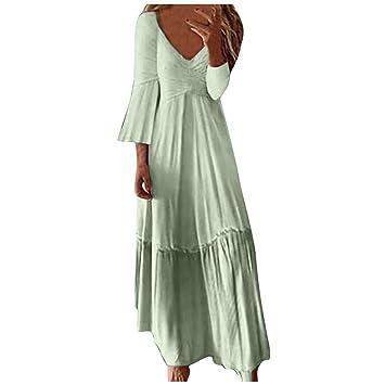 Mujer Vestido Largo Vintage con Cuello en V ღSUNNSEANღ ...