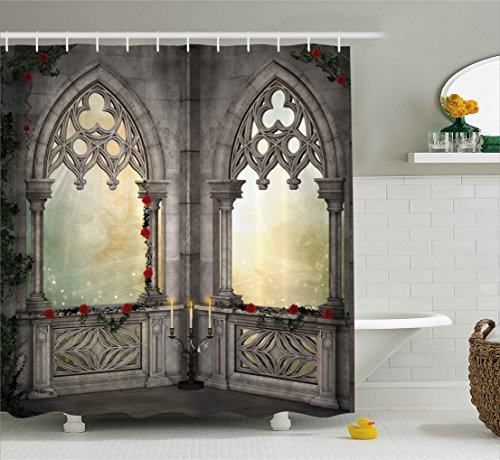 Ambesonne Gothic Decor Shower Curtain, Vintage Ottoman Palace Balcony for Sultans with Red Rose Flowers Ivy Terrace Image, Fabric Bathroom Decor Set with Hooks, 70 Inches, Beige Rose Terrace