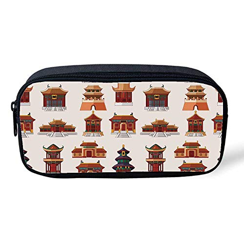 "Ancient China Decorations Multifunctional Pencil Bag,Cartoon Style Antique Houses Pattern Ethnic Asian Design Elements for Birthday Festival,8""L x 1"" W x 4""H from YOLIYANA"