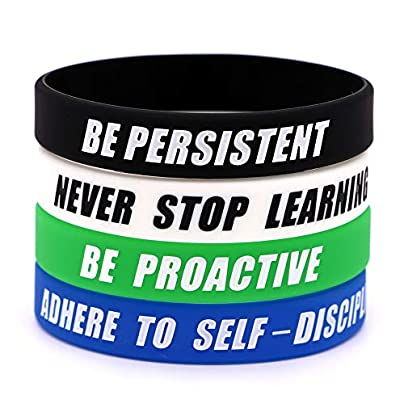 AVEC JOIE Inspirational Silicone Bracelets Rubber Bands Wristbands with Four Important Habits Highly Effective People Teaching You How Success Estimated Price £6.25 -