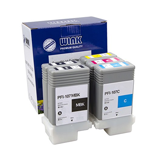 WINK compatible Ink Cartridge Replacement for Canon iPF670/680/685/770/780/785  PFI107 5Colors 5PC 130ml