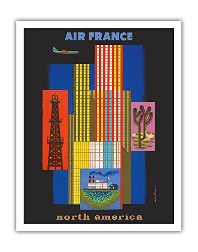 North America - Air France - American Collage Steamboat, Oil Rig, Skyscrapers, Cactus - Vintage Airline Travel Poster by Jacques Nathan-Garamond c.1958 - Fine Art Print - 11in x - Fine Oil Art Collage