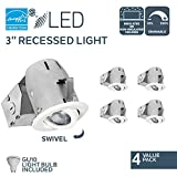 Nadair 3in LED Recessed Lighting Kit (x4) Swivel Spotlight Dimmable Downlight - IC Rated - 3000K Warm GU10 550 Lumens Bulbs (50 Watts Equivalent) Included 4-Pack - White - CP734L-4WH