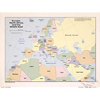 Amazon.com: Map Poster - Europe North Africa and the Middle ... on middle east borders after ww1, ottoman empire map after ww1, simple map of russia after ww1, map religions ottoman,