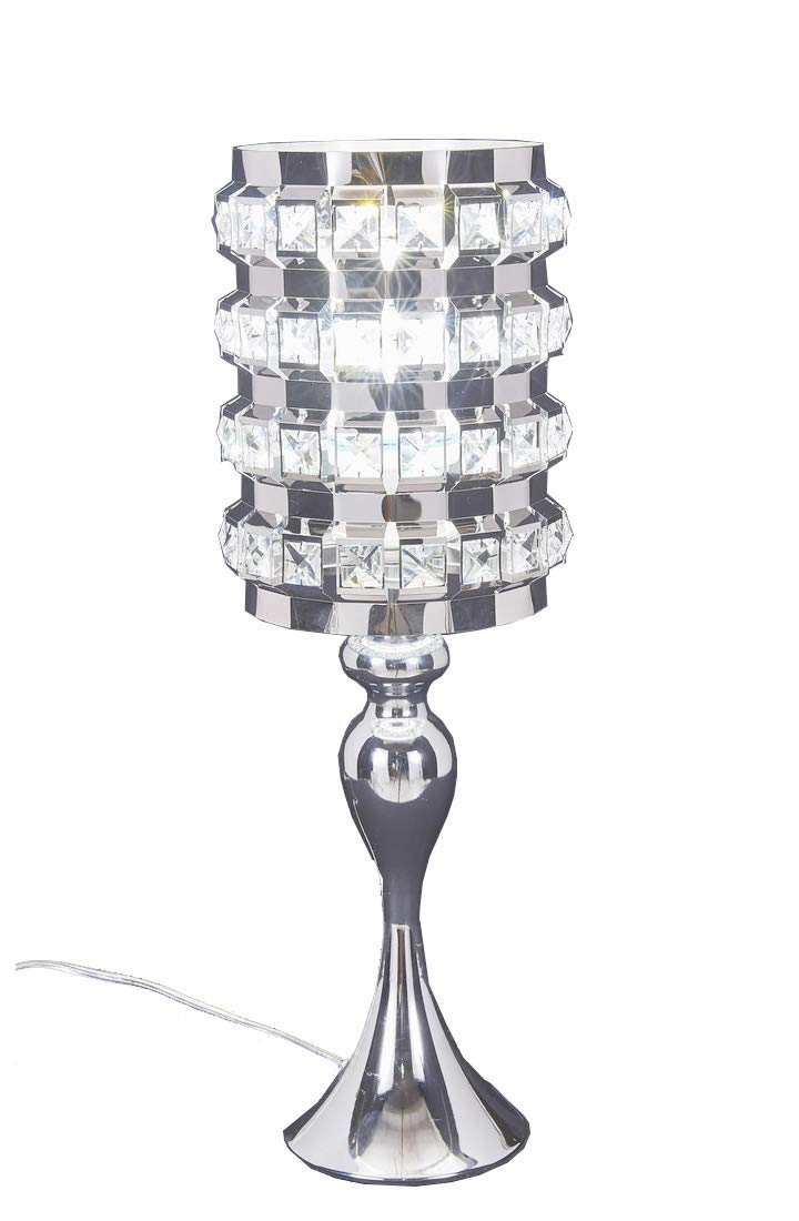 Diamond Life Chrome Finish Metal and Crystal Shade Table Lamp, 19-inch Tall