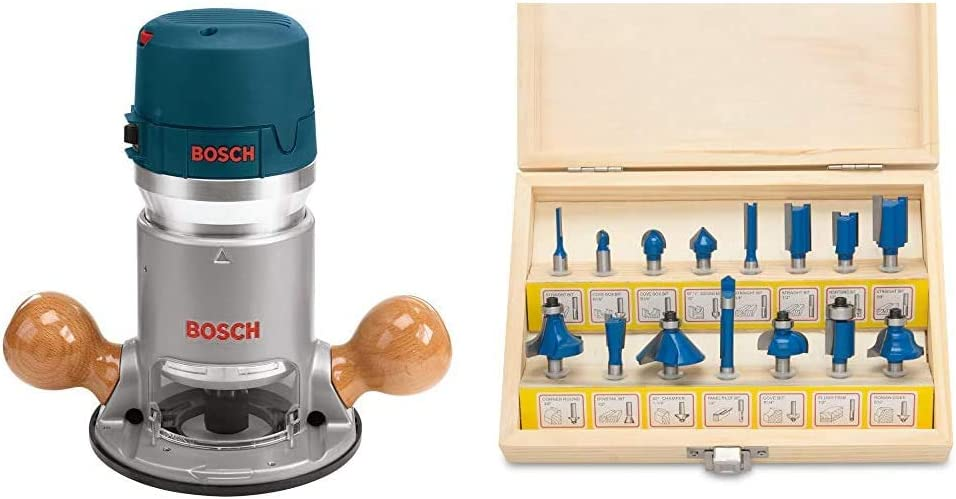 Bosch 1617EVS 2.25 HP Electronic Fixed-Base Router & Hiltex 10100 Tungsten Carbide Router Bits | 15-Piece Set
