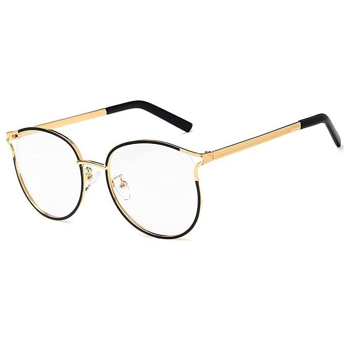 dd1241e6d9ff2 D.King Unisex Oversized Metal Eyeglasses Frame Stylish Round Circle Glasses  Black