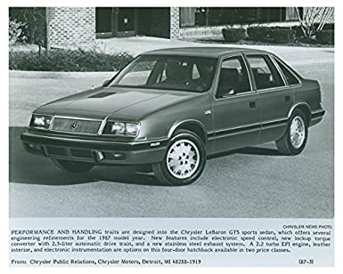 1987 Chrysler LeBaron GTS Automobile Factory Photo