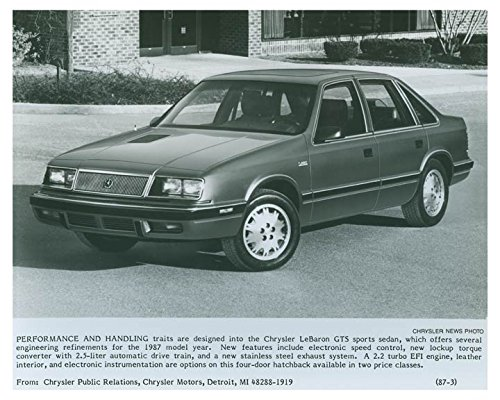 Amazon.com: 1987 Chrysler LeBaron GTS Automobile Factory Photo: Entertainment Collectibles