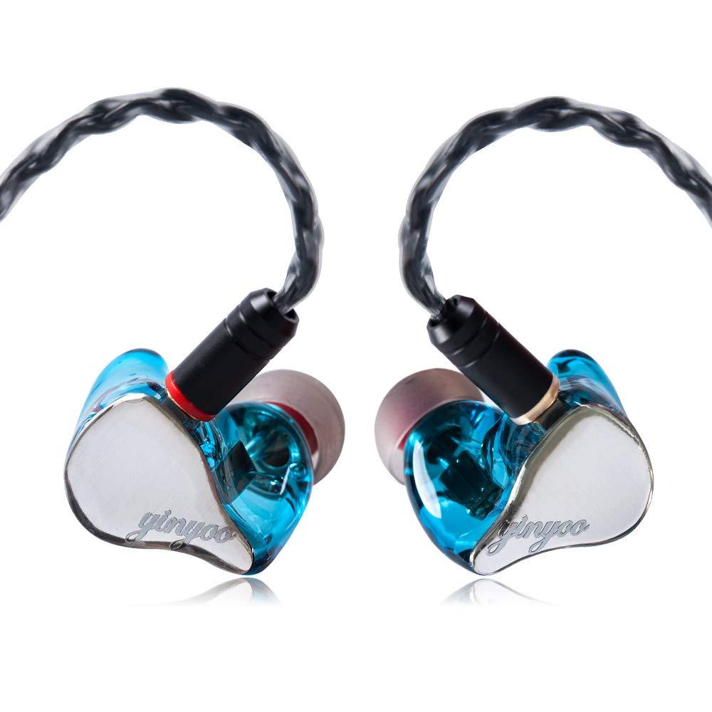 Yinyoo HX3 イヤホン 高音質 MMCX イヤモニ型 マイク付き 有線 カナル型 遮音 携帯 スマホ 中華イヤホン (ブルー)  ブルー B07Q8JTB4F