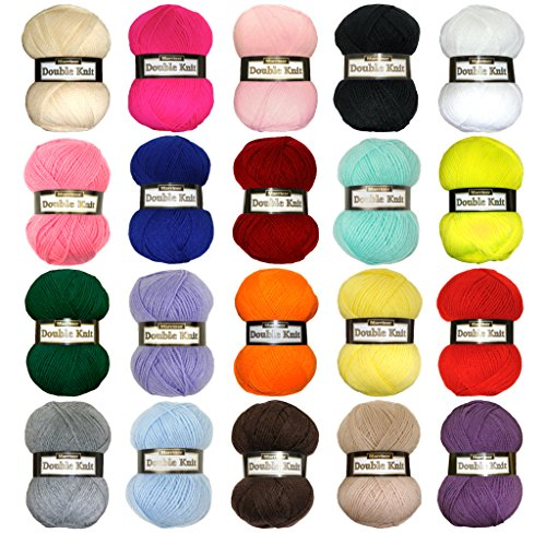 -[ Marriner Yarns Double Knit Bumper Pack | 20 x 100g Balls of Assorted Double Knitting Yarn | Colo