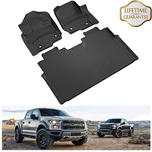 Trucks Cars Floor Carpet Mats (KIWI MASTER F150 Floor Mats SuperCrew Cab Compatible for 2015-2018 Ford F150 with Front Row Bucket Seats, Full Set Includes 1st and 2nd Row All-Weather TPE Slush Liners Mat)