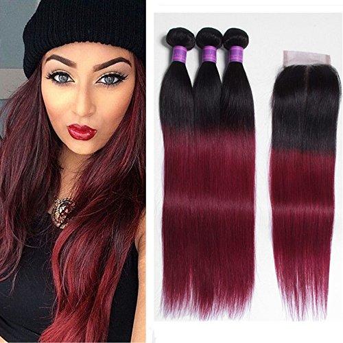 JiSheng Hair 8A Brazilian Virgin Hair Straight 3 Bundles with Closure Ombre Brazilian Hair With Closure Human Hair Weave Bundles 1b/burgundy Ombre(18 20 20 with 18)