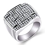 HZMAN Men's Stainless Steel Hip Hop Iced Out Cubic Zirconia Square Cross Rings Micro Pave CZ Wedding Bands (9)