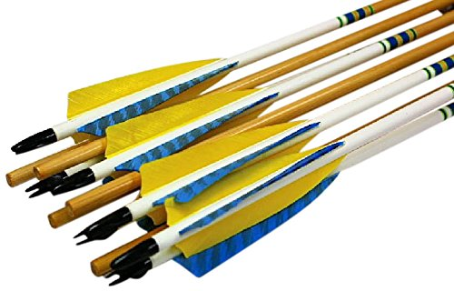 (Rose City Archery Port Orford Cedar Hunter Elite Arrows with 5-Inch Length Shield Cut Fletch (6-Pack), Clear Lacquer Shaft, 23/64-Inch Diameter/65-70-Pound Spine)