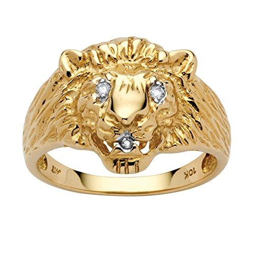 Men's White Diamond Accent 10k Yellow Gold Lion's Head - Ring Diamond Accent Dad