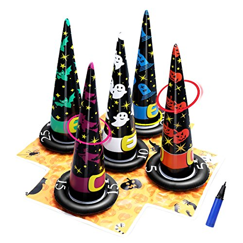 PartyKindom Witch Hat PVC Inflatable Ring Toss Set Halloween Decoration Party Game Holiday Toys 90 x 90 x -
