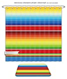 Minicoso Bath Two Piece Suit: Shower Curtains and Bath Rugs Colorful Mexican Serape Blanket Seamless Pattern Vector Shower Curtain and Doormat Set
