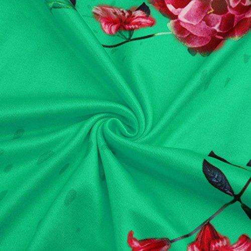 V Chemisier Col Femme Vert Longues Sansee Fleurs Manches wvZzz4Bq