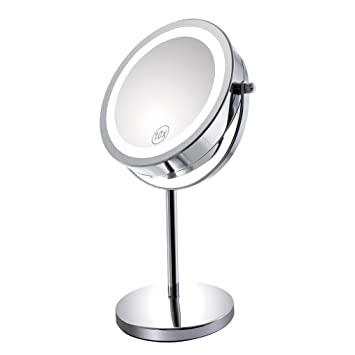 vanity mirror on stand. 10x Magnified Lighted Makeup Mirror Double Sided Round Magnifying  Standing 360 Degree Swivel Vanity Amazon com
