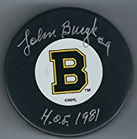 Autographed Johnny Bucyk Boston Bruins Puck