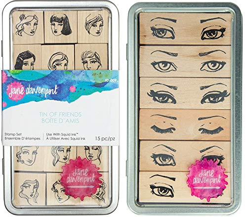 Jane Davenport Artomology Wood Mount Stamps Tin of Friends /& Tin of Glances